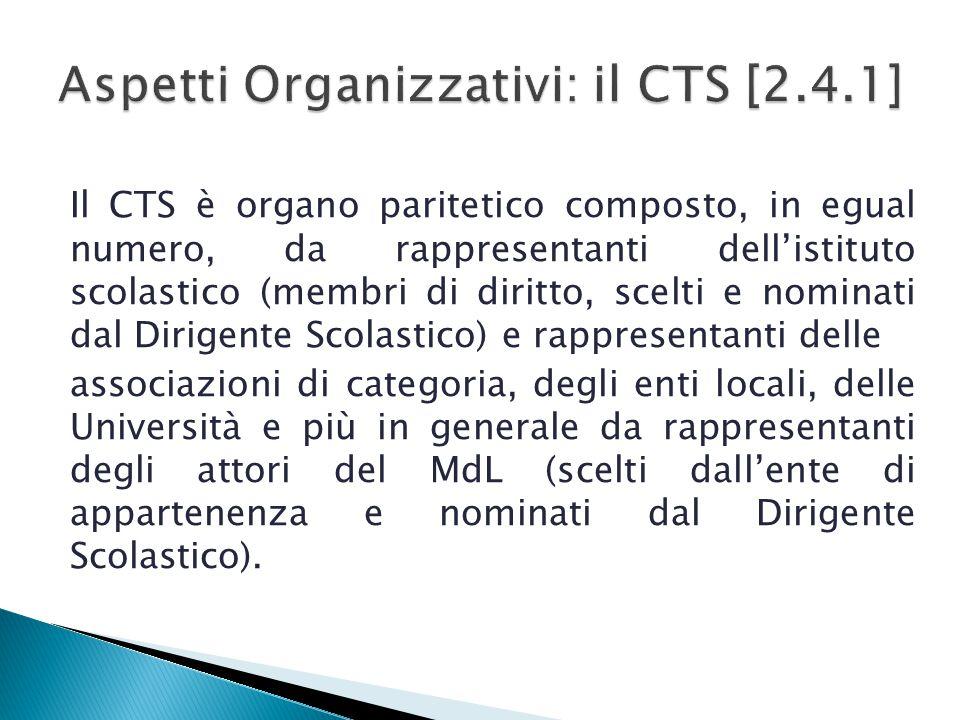 Aspetti Organizzativi: il CTS [2.4.1]